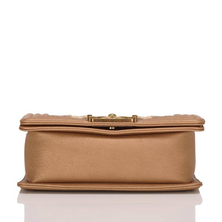 Women's Chanel Dark Gold Metallic CC Embellished Lambskin Small Boy Bag For Sale