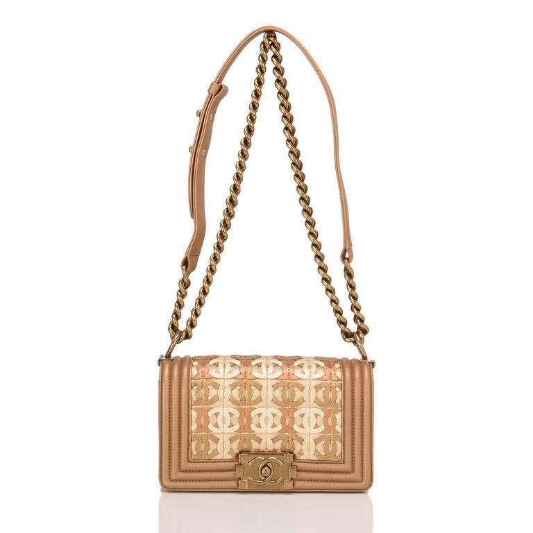 Chanel Dark Gold Metallic CC Embellished Lambskin Small Boy Bag For Sale 1