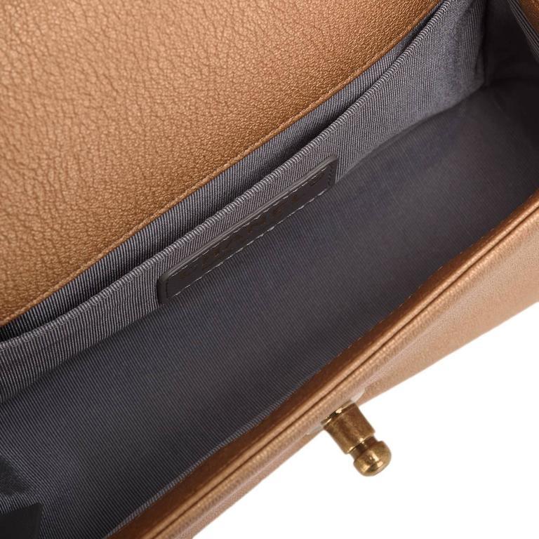 Chanel Dark Gold Metallic CC Embellished Lambskin Small Boy Bag For Sale 2