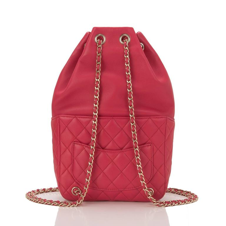 Chanel Red Lambskin Flap Backpack In Excellent Condition For Sale In New York, NY