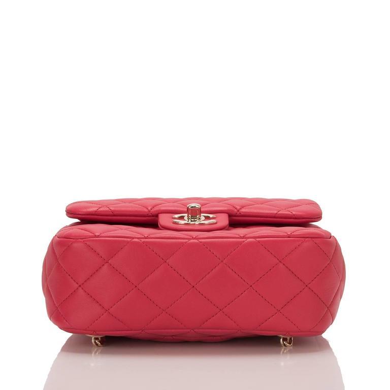 Women's Chanel Red Lambskin Flap Backpack For Sale