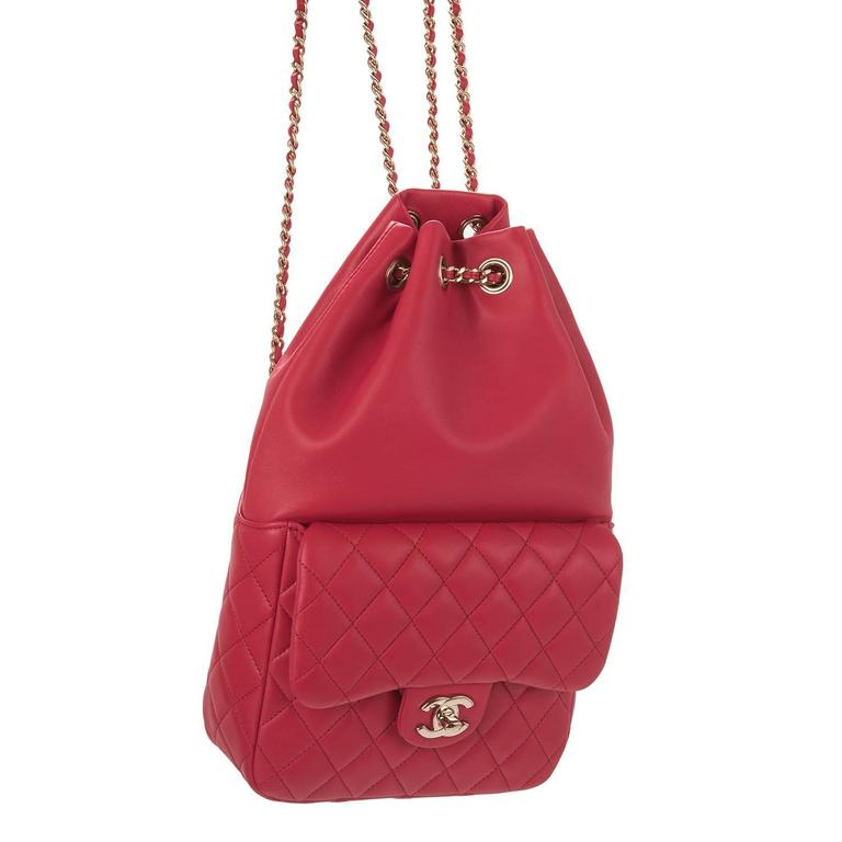 Chanel Red Lambskin Flap Backpack For Sale 1