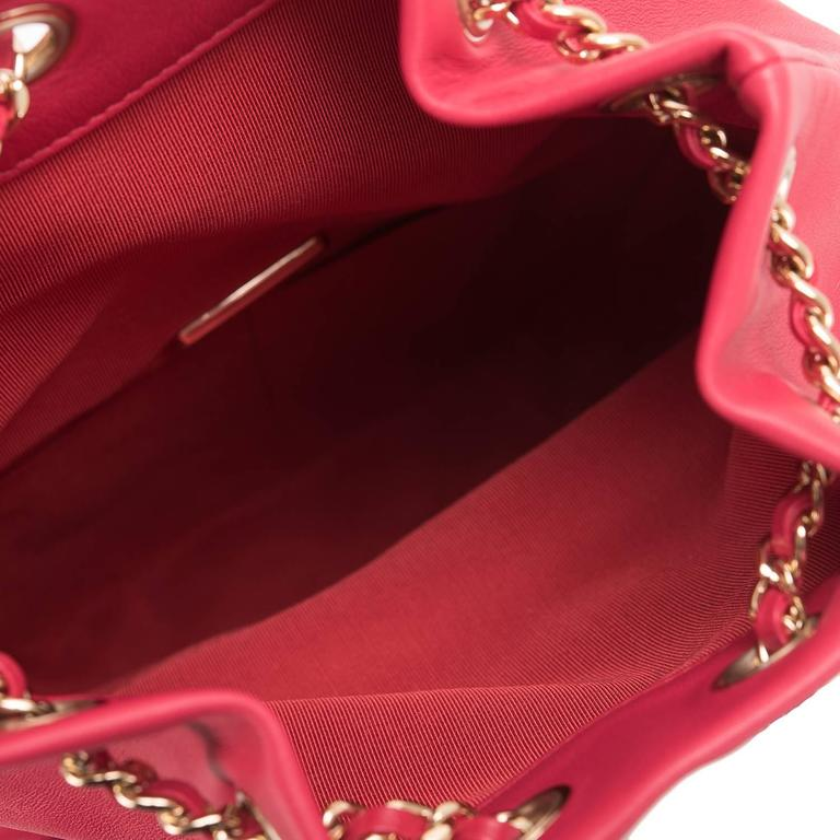 Chanel Red Lambskin Flap Backpack For Sale 2