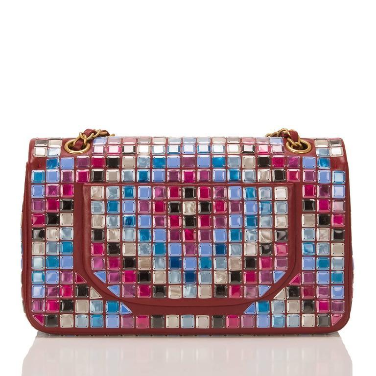 Gray Chanel Runway Red Multicolor Lambskin Medium Mosaic Flap Bag For Sale