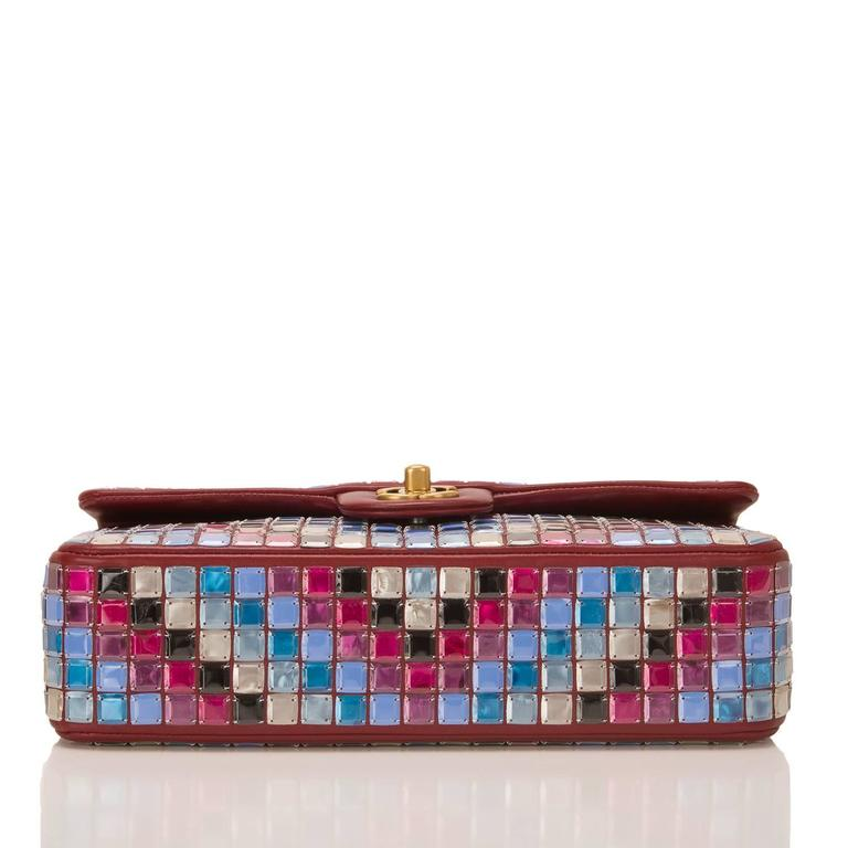 Chanel Runway Red Multicolor Lambskin Medium Mosaic Flap Bag In New Never_worn Condition For Sale In New York, NY