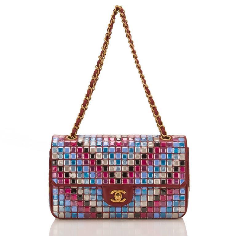 Women's Chanel Runway Red Multicolor Lambskin Medium Mosaic Flap Bag For Sale