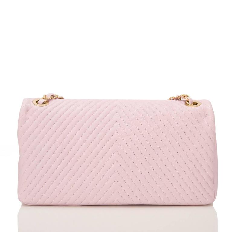 Chanel Pink Chevron Lambskin Medium Flap Bag In New never worn Condition For Sale In New York, NY