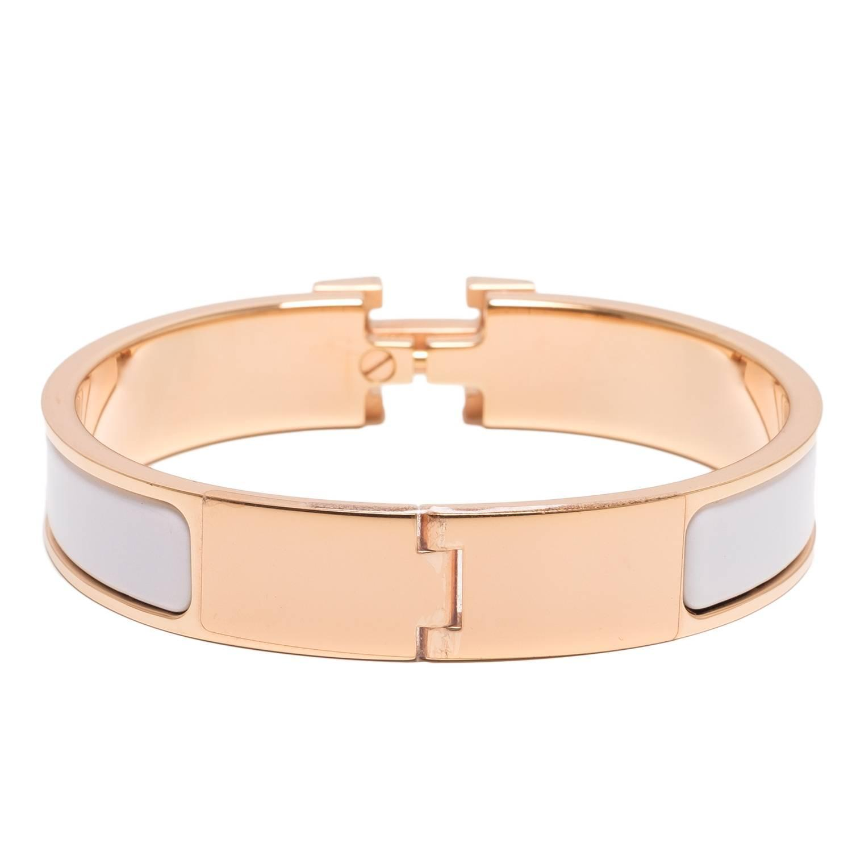 hermes white clic clac h narrow enamel bracelet pm at 1stdibs