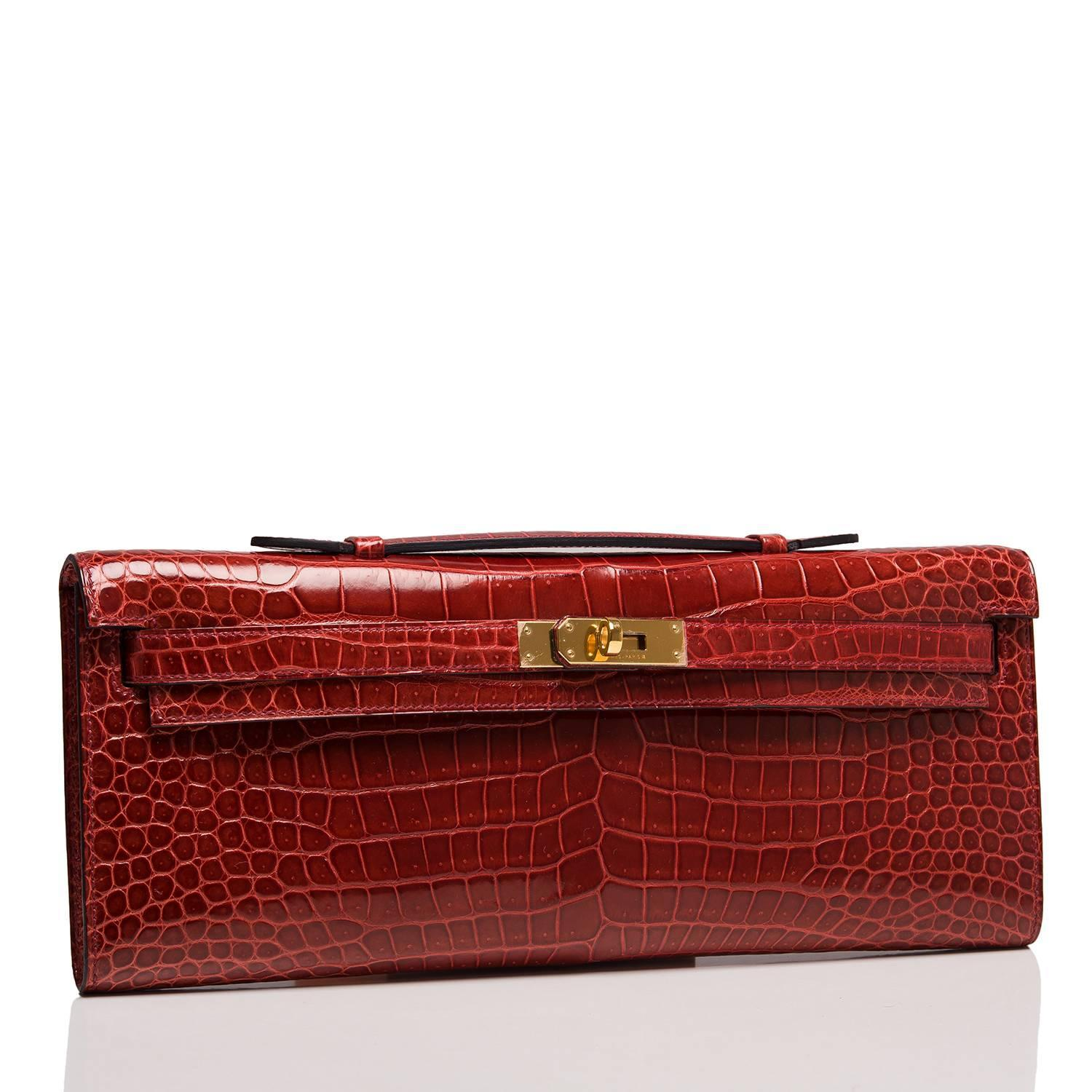 Hermes Rouge H Shiny Porosus Crocodile Kelly Cut For Sale at 1stdibs