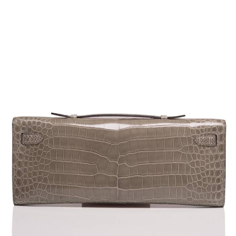Gray Hermes Gris Tourterelle Shiny Porosus Crocodile Kelly Cut For Sale