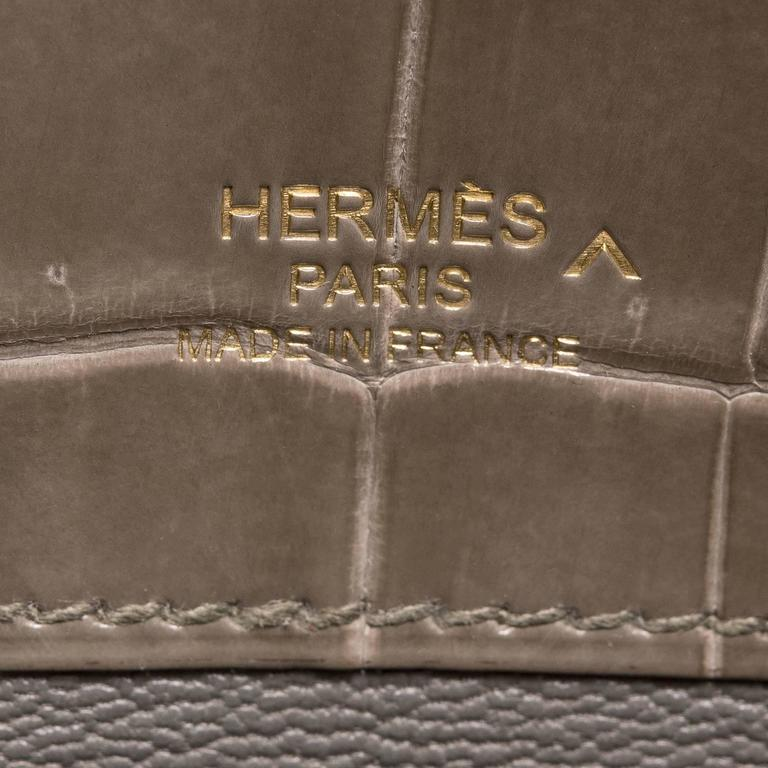 Hermes Gris Tourterelle Shiny Porosus Crocodile Kelly Cut For Sale 1