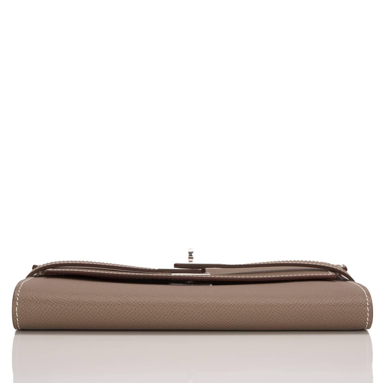 birkin inspired handbags - Hermes Etoupe Epsom Kelly Longue Wallet For Sale at 1stdibs