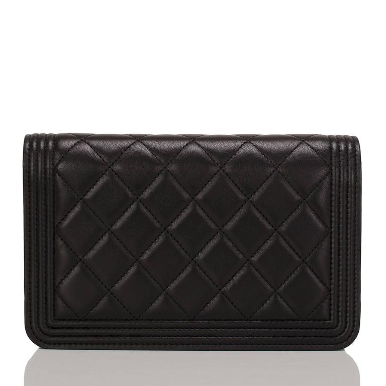 Chanel Black Quilted Lambskin Boy Wallet On Chain (WOC) Gold Hardware In New Never_worn Condition For Sale In New York, NY