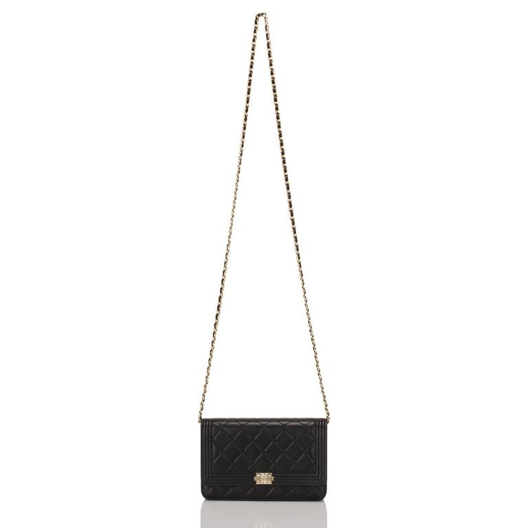 Chanel Black Quilted Lambskin Boy Wallet On Chain (WOC) Gold Hardware For Sale 1
