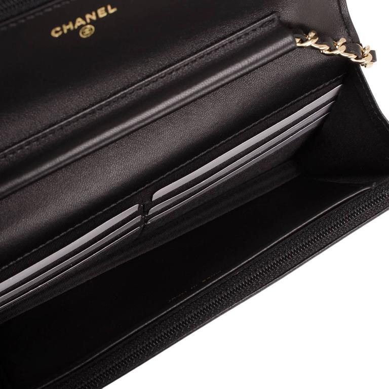 Chanel Black Quilted Lambskin Boy Wallet On Chain (WOC) Gold Hardware For Sale 2