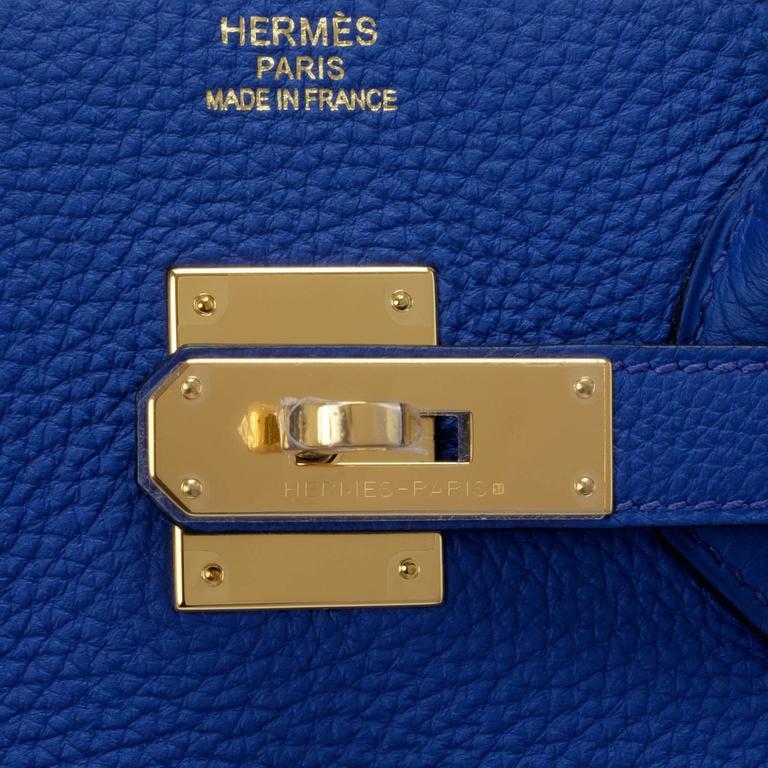 Women's Hermes Blue Electric Togo Birkin 35cm Gold Hardware For Sale