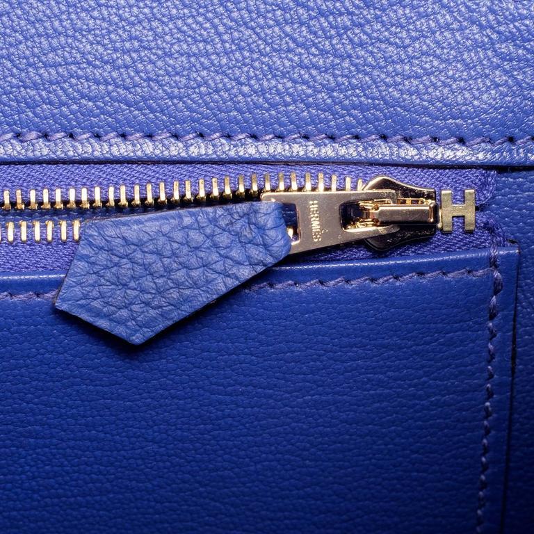 Hermes Blue Electric Togo Birkin 35cm Gold Hardware For Sale 2