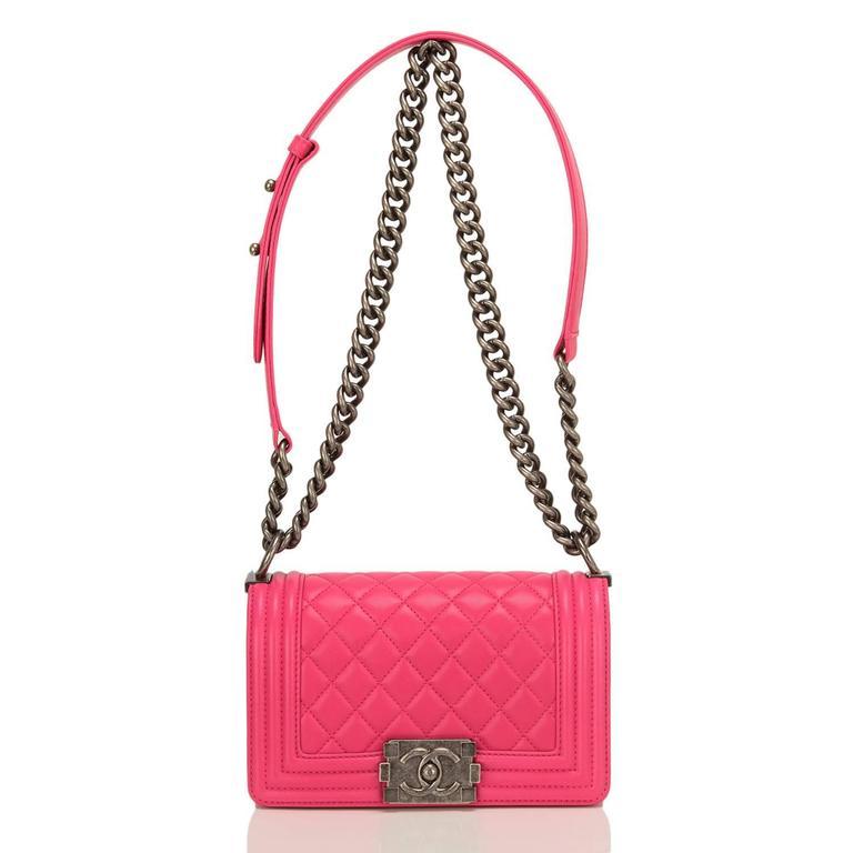 Chanel Fuchsia Pink Lambskin Small Boy Bag For Sale 2