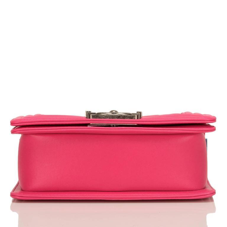 Chanel Fuchsia Pink Lambskin Small Boy Bag For Sale 1