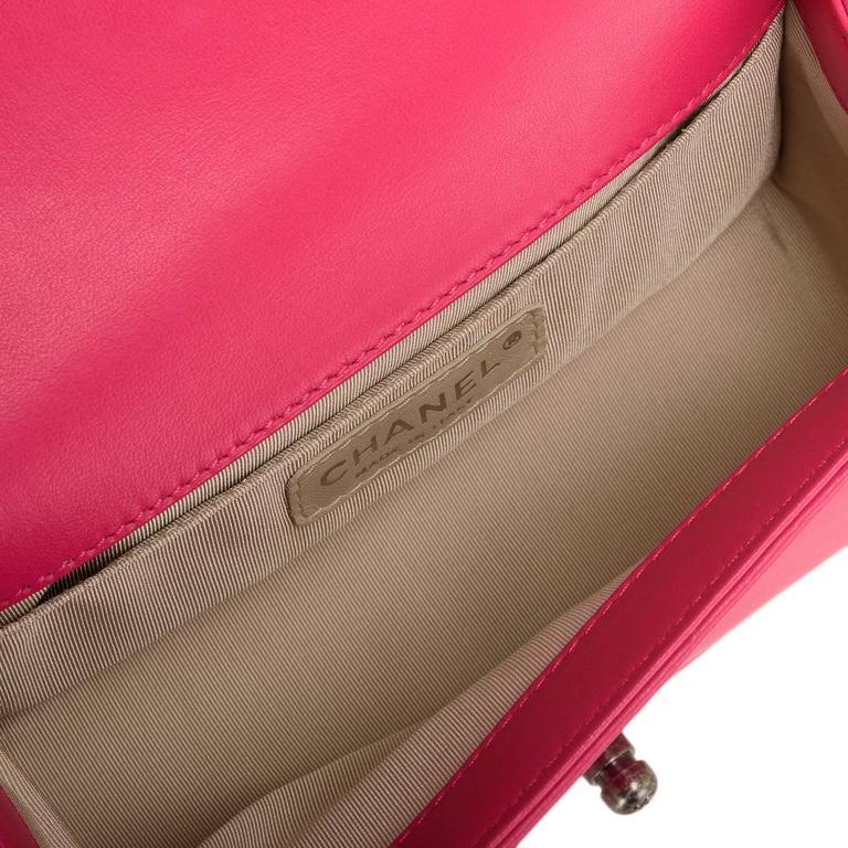 Chanel Fuchsia Pink Lambskin Small Boy Bag For Sale 3