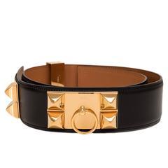Hermes Black Calfskin Leather Collier de Chien Medor Belt 80cm