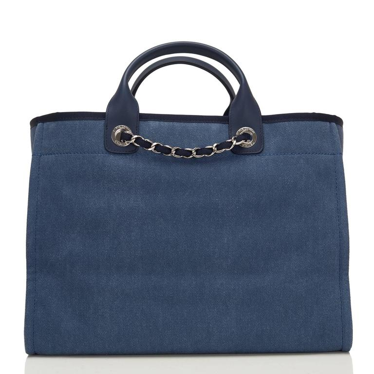 Chanel Large Navy Canvas With Sequins Deauville Tote In New never worn Condition For Sale In New York, NY