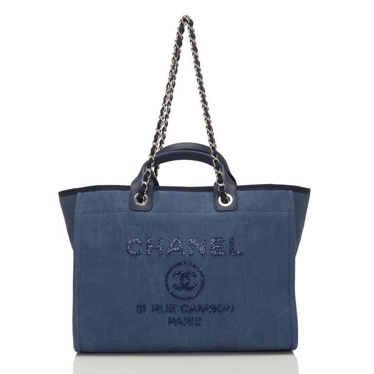 Chanel Large Navy Canvas With Sequins Deauville Tote For Sale 1