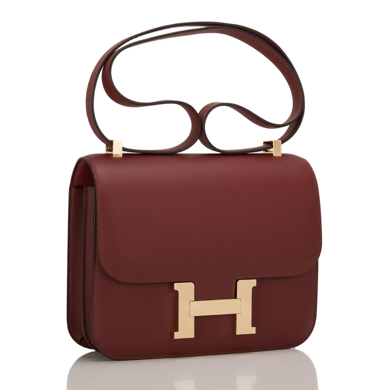 fake hermes leather purses - Hermes Rouge H Veau Sombrero Constance 24cm Gold Hardware at 1stdibs