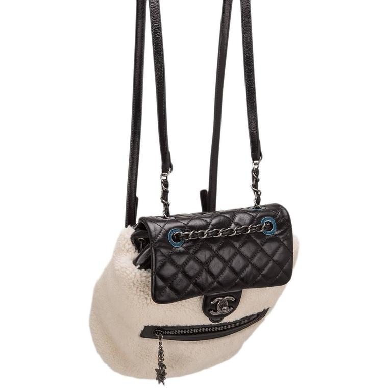 Chanel Limited Edition Black Calfskin And Shearling Large Backpack Mountain Bag For Sale 1