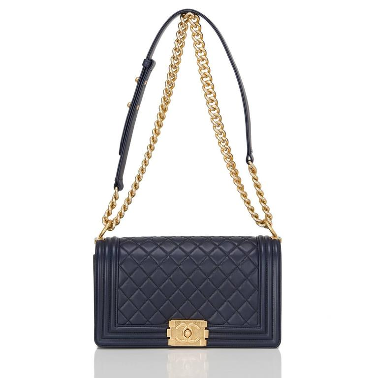 Chanel Navy Quilted Calfskin Medium Boy Bag For Sale 1