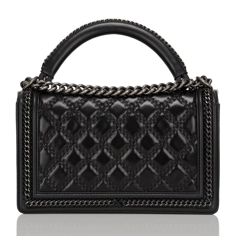 Chanel Black Quilted Shiny Goatskin New Medium Boy Bag With Top Handle In New Never_worn Condition For Sale In New York, NY
