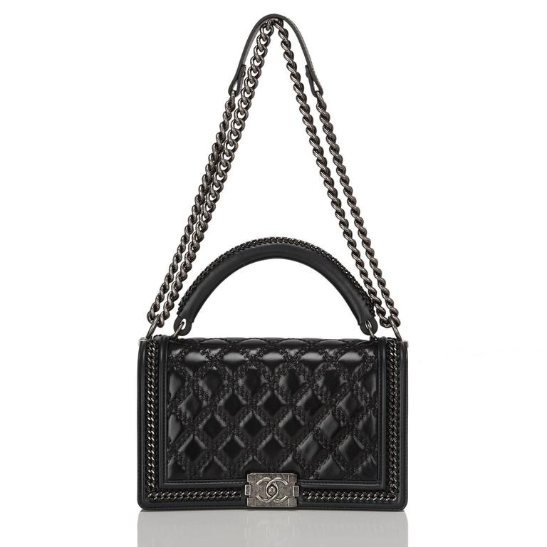 Chanel Black Quilted Shiny Goatskin New Medium Boy Bag With Top Handle For Sale 1