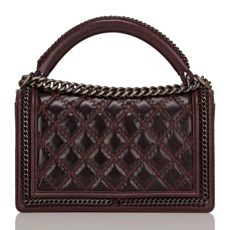 Black Chanel Burgundy Quilted Shiny Goatskin New Medium Boy Bag With Top Handle For Sale