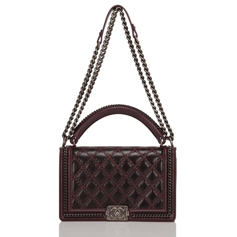 Women's Chanel Burgundy Quilted Shiny Goatskin New Medium Boy Bag With Top Handle For Sale
