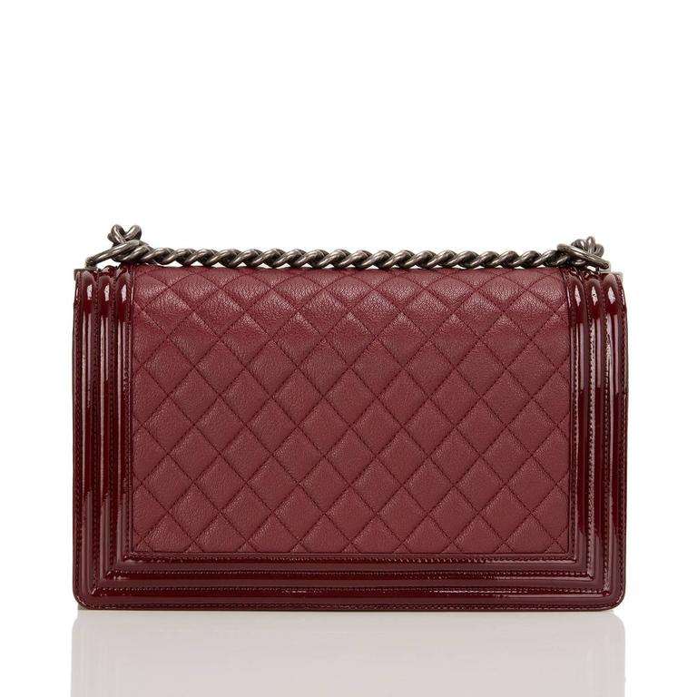 Brown Chanel Burgundy Goatskin New Medium Boy Bag With Patent Trim For Sale