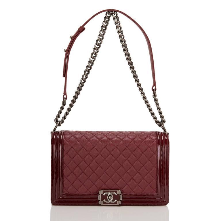 Women's Chanel Burgundy Goatskin New Medium Boy Bag With Patent Trim For Sale