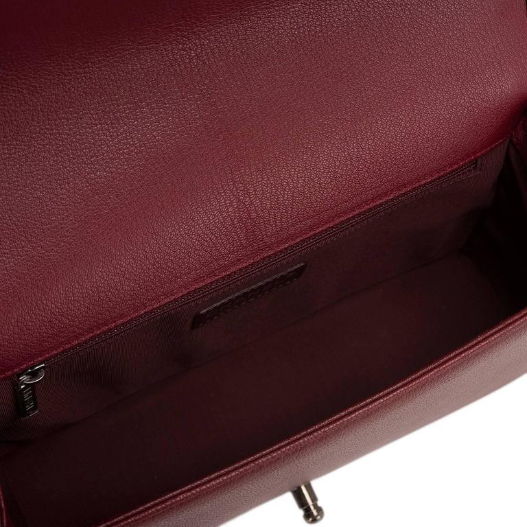 Chanel Burgundy Goatskin New Medium Boy Bag With Patent Trim For Sale 1