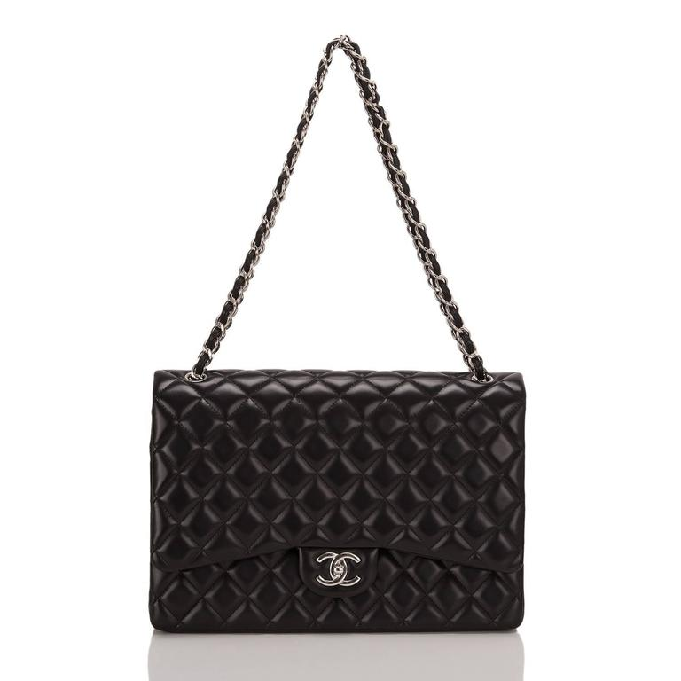 Chanel Black Quilted Lambskin Maxi Classic Double Flap Bag For Sale 1