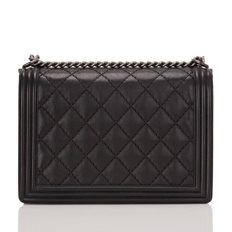 Chanel Pearlized Black Double Quilt Calfskin Large Boy Bag In New Never_worn Condition For Sale In New York, NY