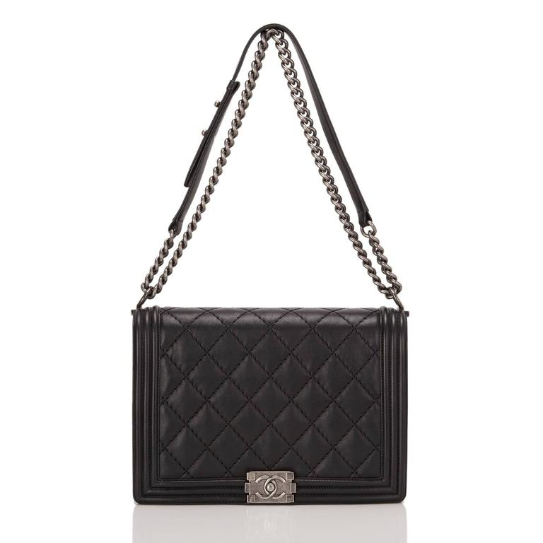 Chanel Pearlized Black Double Quilt Calfskin Large Boy Bag For Sale 1