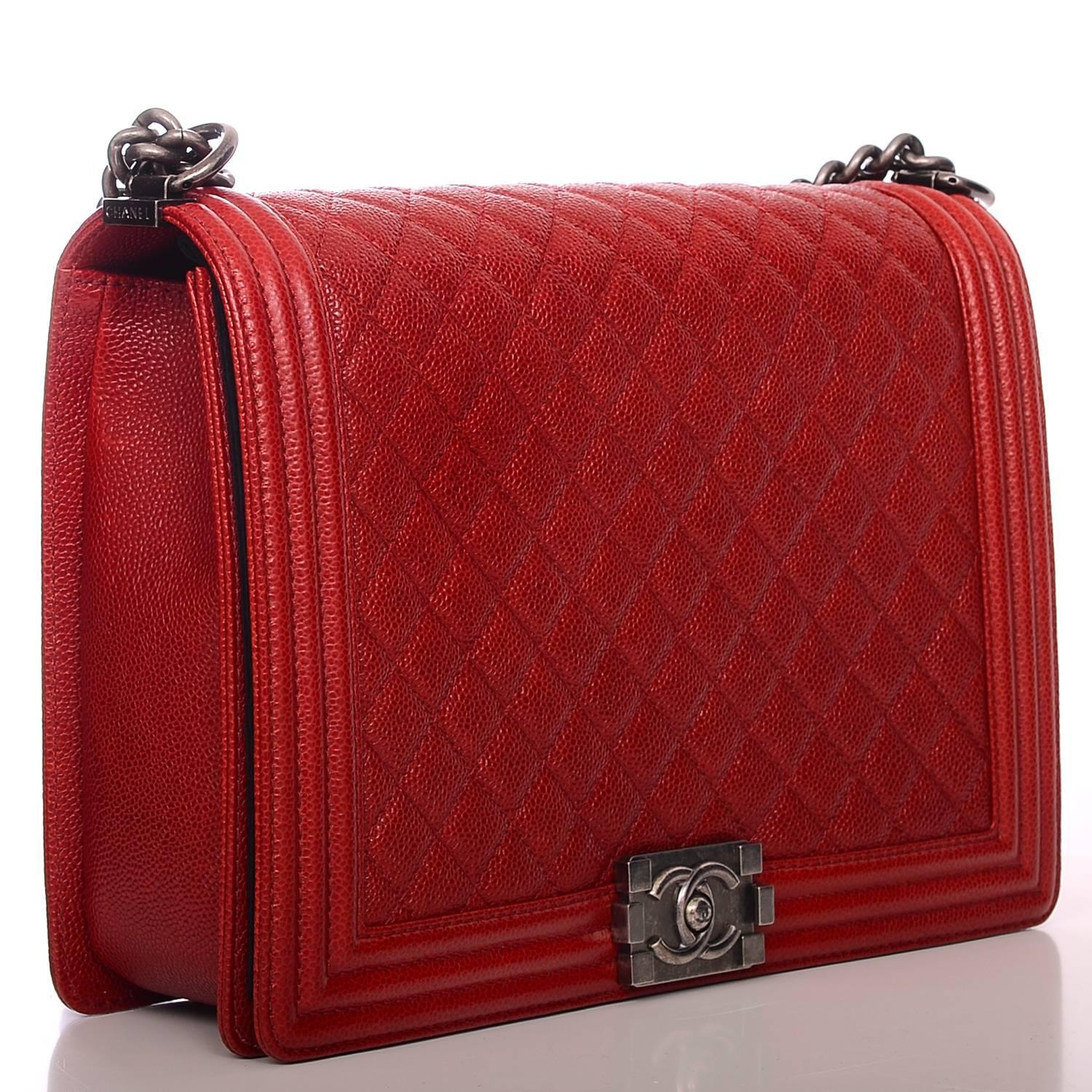 Chanel Dark Red Quilted Caviar Large Boy Bag at 1stdibs Chanel Boy Bag Red 2013