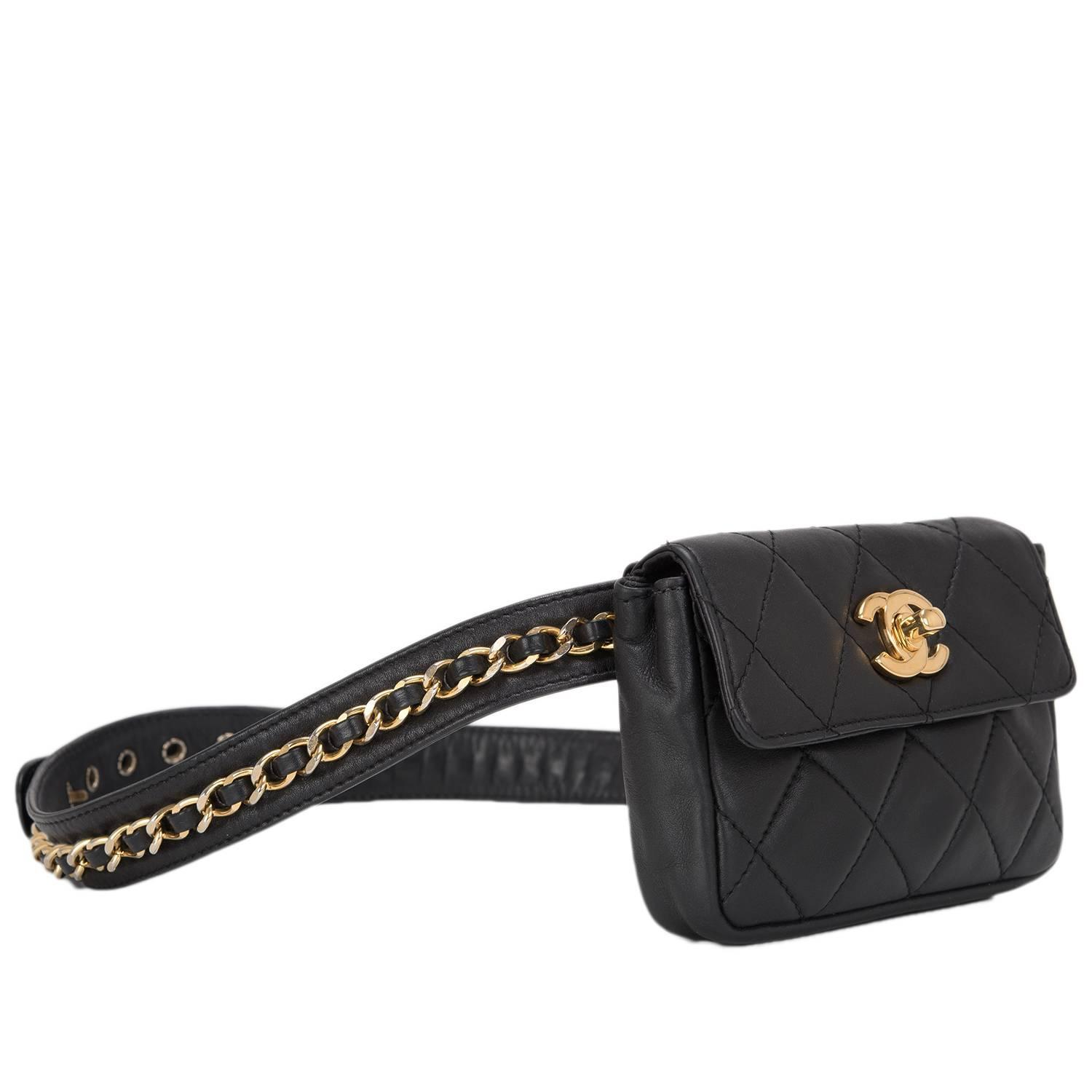 Chanel Vintage Black Quilted Lambskin Iconic Chained Fanny