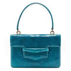 Lorry Newhouse Electric Blue Alligator Alice Bag