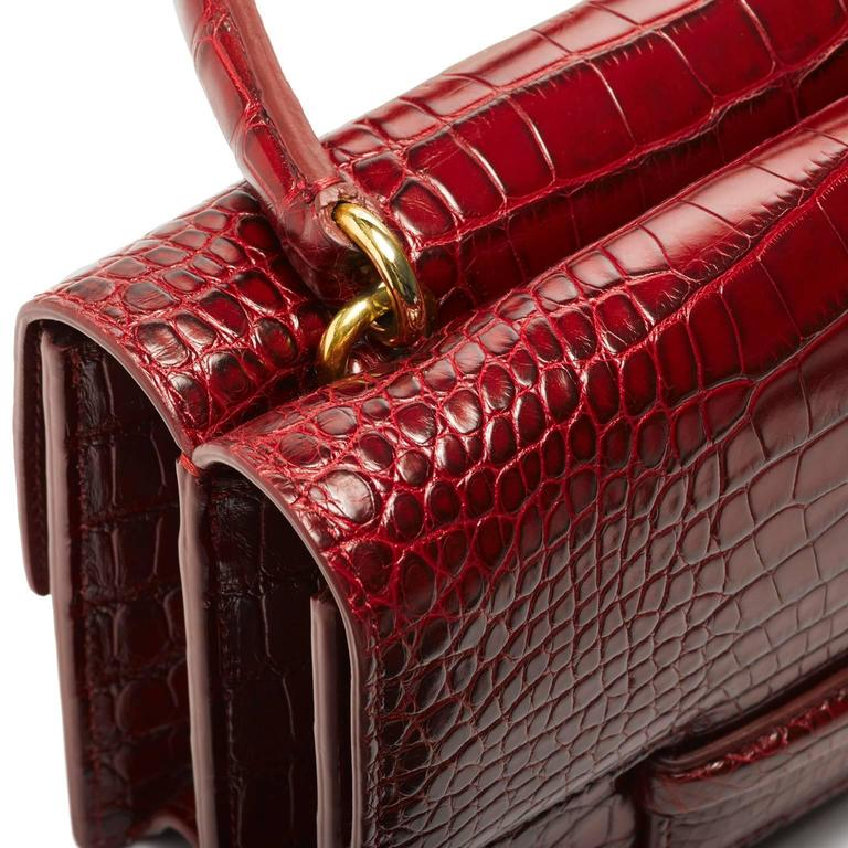 Lorry Newhouse Crimson Alligator Double Bag   In New never worn Condition For Sale In New York, NY