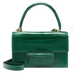 Lorry Newhouse Kelly Green Alligator Double Bag
