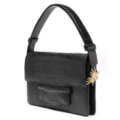 Alligator Clutch / Handbag with detachable adjustable strap  - Black