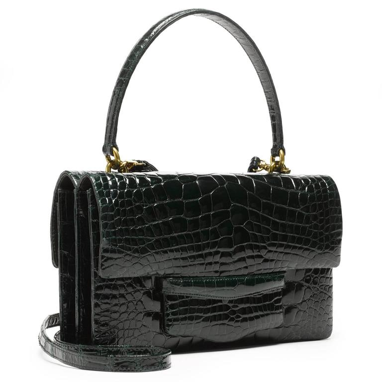 Lorry Newhouse Forest Green Alligator Double Bag