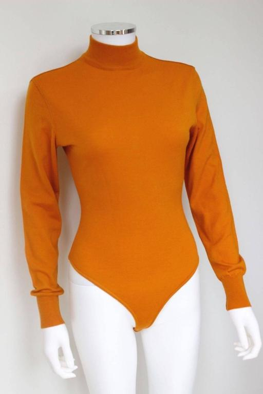 vintage alaia orange wool turtleneck long sleeve bodysuit