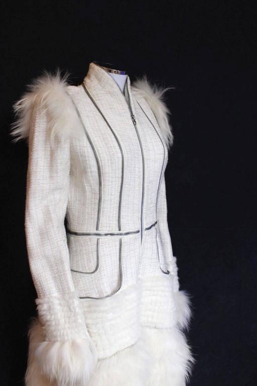Alexander McQueen Fall 2011 Paris Collection White Mink Fur Coat 44 uk 12  3