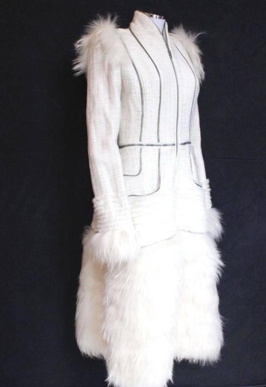 Alexander McQueen Fall 2011 Paris Collection White Mink Fur Coat 44 uk 12  6